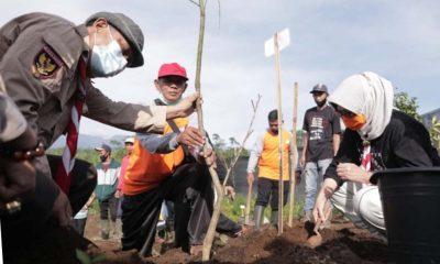 Wabup Bersama Pramuka dan PMI Tanam Seribu Pohon - Penghijauan Glagaharum